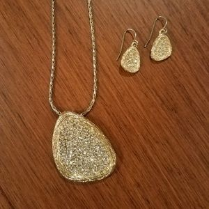 Rhinestone and Gold Necklace & Earrings Set